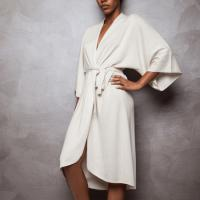 Kimono- Cashmere and Silk - Shuj from Italy - Colour- Ivory : Size: S/M